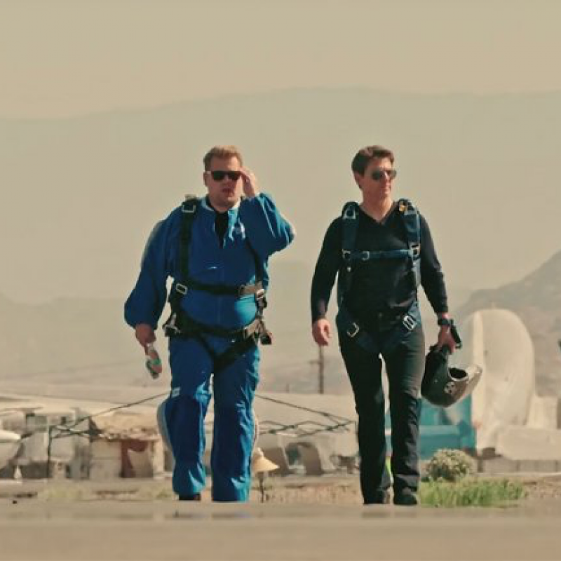James Corden keeps his promise to Tom Cruise and goes skydiving!