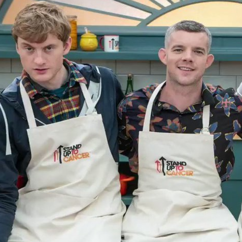 James Acaster and Russell Tovey get their baking hats on for The Great Celebrity Bake Off for Stand Up For Cancer