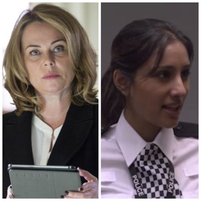 Polly Walker and Taj Atwal in Line Of Duty.