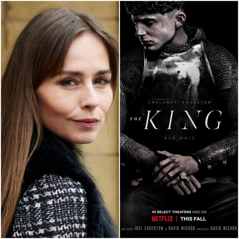 Tara Fitzgerald features in Netflix's film adaptation of Shakespeare's Henry IV and Henry V 'The King'.