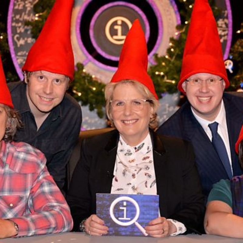 Matt Lucas on QI, taking part in a festive edition of the quiz.