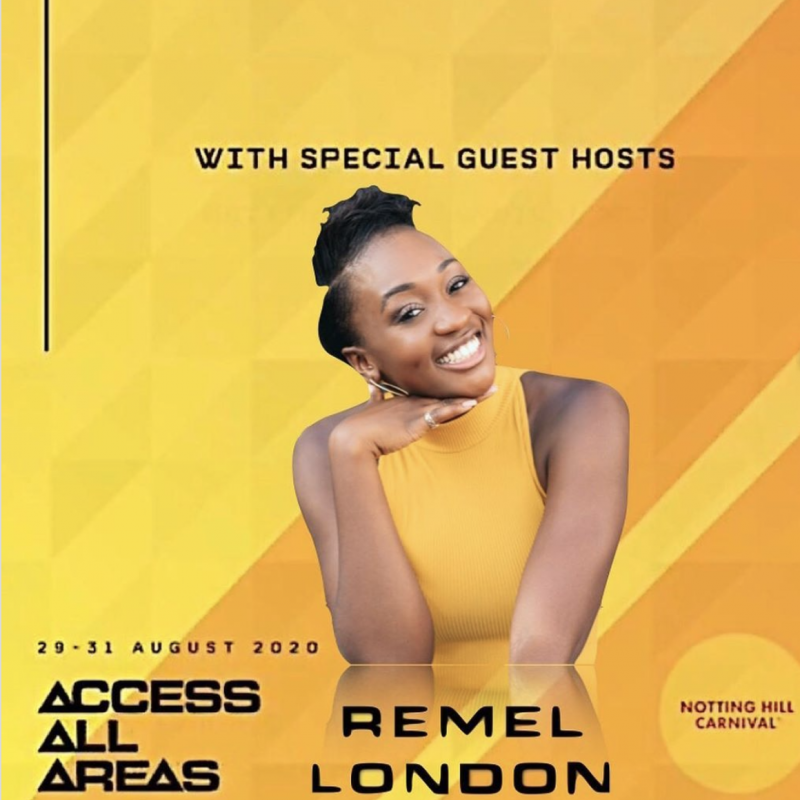 Remel London is hosting on the main stage of the Virtual Notting Hill Carnival – 29th-31st August!