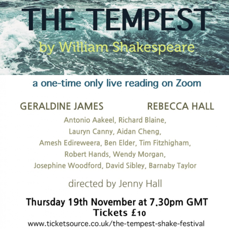 Join Geraldine James and David Sibley for a reading of Shakespeare's The Tempest.