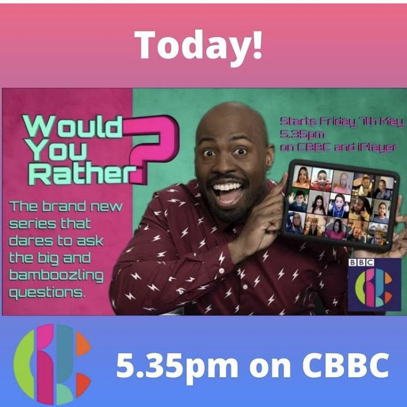 Darren Harriott hosts the new children's series of 'Would You Rather?' on CBBC.